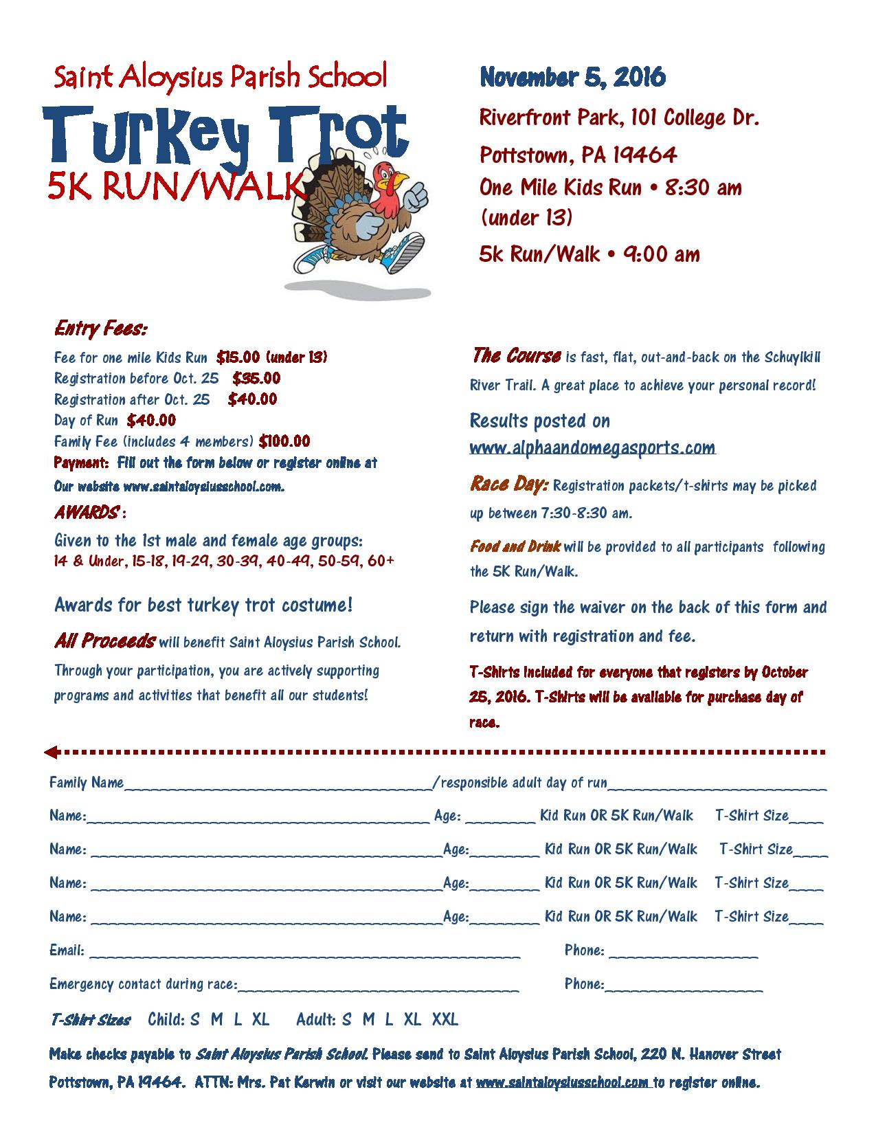st. aloysius turkey trot 5k run/walk | pottstown foundation