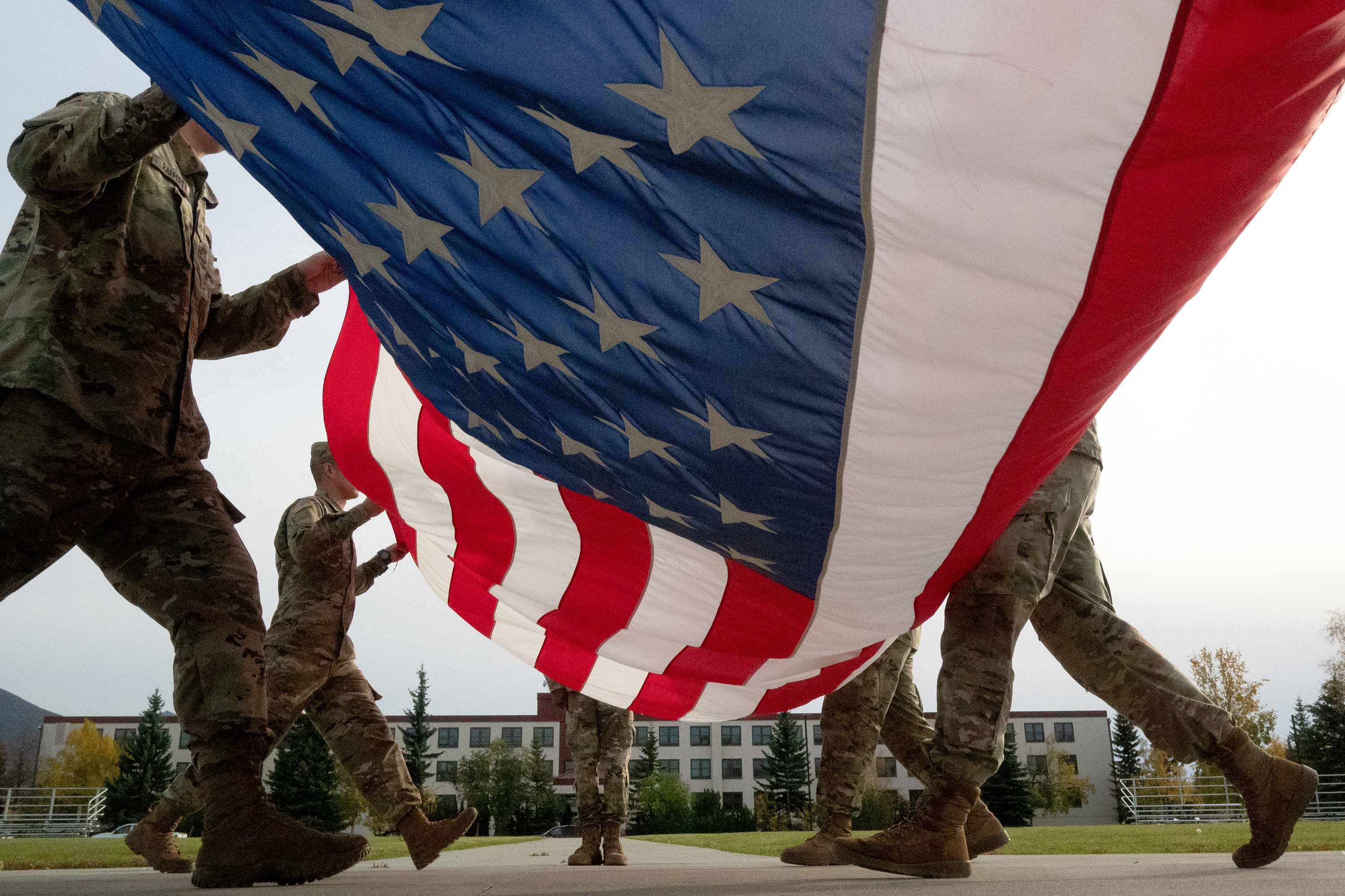 U.S. Army soldiers fold the American Flag.--Photo courtesy the Department of Defense.